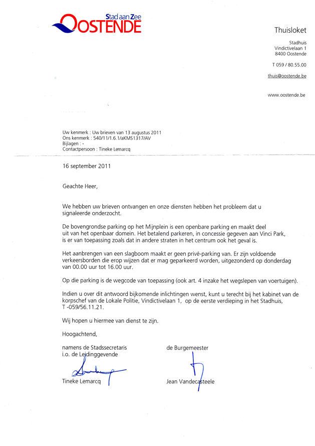 aansprakelijk stellen gemeente voorbeeldbrief Wegsleepregeling in parkeergarage te Oostende : Verkeersbeleid  aansprakelijk stellen gemeente voorbeeldbrief